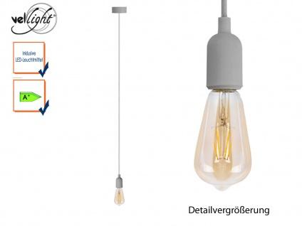 Vellight Schnurpendel Textil grau Hängelampe mit 4W Filament LED, Pendelleuchte