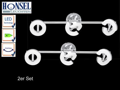 2 LED Deckenstrahler 3-fl. Chrom Acrylglas Spots drehbar Deckenbeleuchtung Büro