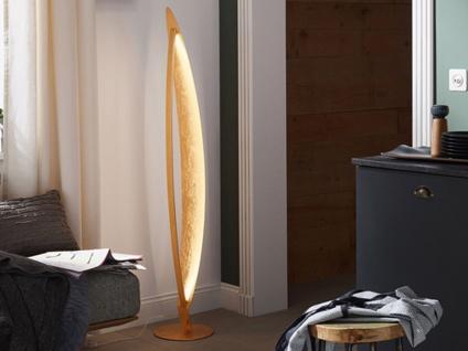 LED Stehleuchte Goldfarbig Höhe 142cm 18 Watt - exklusiv Design Wohnraumleuchten