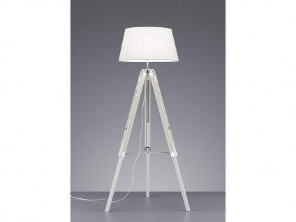 Höhenverstellbare LED Stehleuchte Holz mit Stoffschirm Ø45cm in Weiß Höhe 143cm