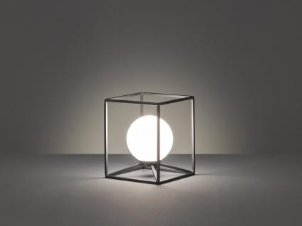 Industrie Design kleine Tischleuchte aus Metall eckig mit Glaskugel rund in weiß