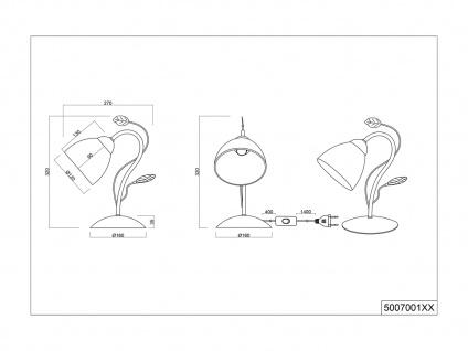 Antik Look LED Tischlampe im Florentiner Stil mit Blätter Motiv aus Metall Grau - Vorschau 5
