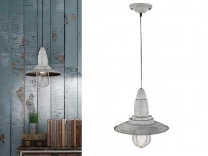 LED Hängelampe grau antik Lampenschirm Glas 32cm, Retro Pendelleuchte Vintage