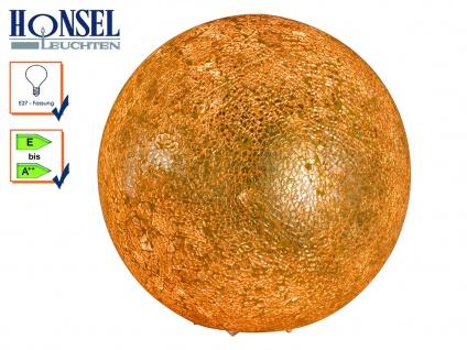 Kugel Tischleuchte Ø 25cm Glas Craquele Goldfarbig, Wohnzimmerlampe Tischlampen