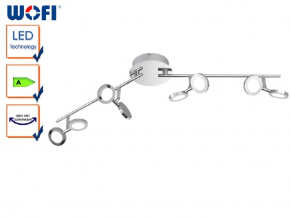 8-flammige LED Deckenleuchte JOYCE, Chrom, Deckenlampen LED Deckenstrahler