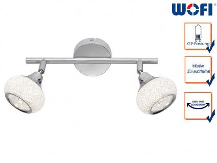 LED Deckenstrahler Chrom poliert 2 drehbare Spots Deckenleuchte Wohnzimmer Diele