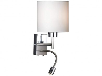 Kleine Wandleuchte mit Leseleuchte, Wandlampe mit Lampenschirm Stoff weiß Ø 16cm