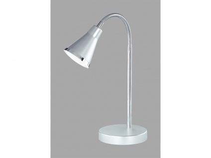 Schöne LED Tischleuchte mit Schirm in Silber Schreibtischlampe mit Flexarm