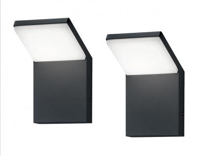 LED Außenwandlampen Anthrazit 2er Set Außenleuchten Hausbeleuchtung Außenbereich - Vorschau 2