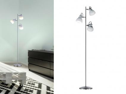 3fl. Standlampe in Nickel matt Glas Lampenschirme drehbar - Wohnraumleuchten