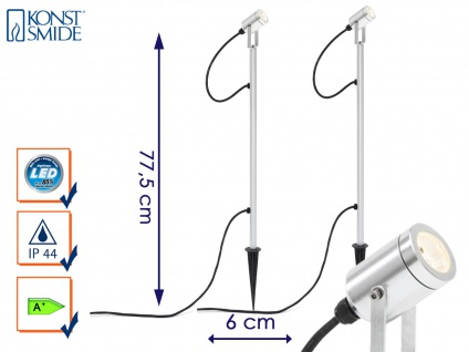 2er LED-Erdspießstrahler Erdspießleuchte Außenstrahler Gartenstrahler MONZA