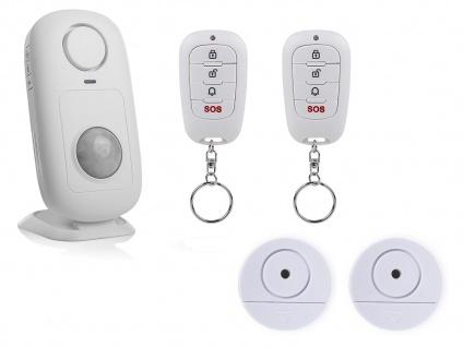 Alarmset: Funkbewegungsmelder, 2x Fernbedienung, 2x Fensteralarm Glasbruchsensor