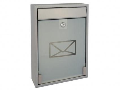 Briefkasten Silber satinierte Tür 2 Schlüssel Design Wandbriefkasten 26x36x8 cm - Vorschau 1