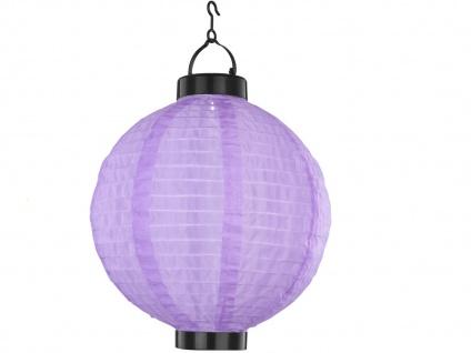 4er Set LED Solarleuchten Lampion violett Ø 25, 5cm, Beleuchtung Terrasse Garten - Vorschau 3