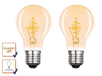 2x FILAMENT LED Leuchtmittel A60 mit 3 Watt, 150 Lumen, 2000 Kelvin, E27-Sockel