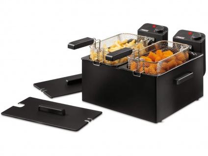 Edelstahl Doppelfritteuse Schwarz mit Kaltzonenfunktion 2 x 3 Liter Öl Fritteuse - Vorschau 2
