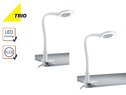 2er Set Trio LED Klemmleuchten Klammerleuchten weiß m. Lupe, Schreibtischlampen
