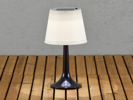 Solar High Power LED-Tischlampe Tischleuchte ASSISI schwarz Höhe 36 cm