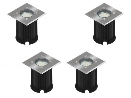 4er-Set LED-Bodeneinbaustrahler Outdoor, eckig, befahrbar 800 kg IP65