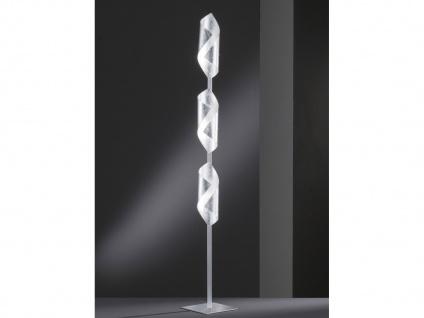 Design LED Stehleuchte 3-flammig in Blattsilber Optik - moderne Wohnzimmerlampen