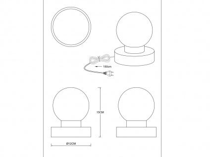 LED Tischlampe Kugel Messing mit GLAS Schirm weiß Touch Dimmer Wohnraumleuchte - Vorschau 3