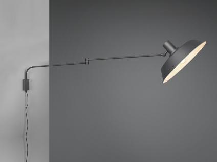 Wandlampe Schwenkarmleuchte mit Teleskoparm Metallschirm Kabel Schalter Stecker