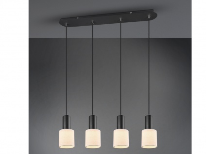 4 flammige LED Pendelleuchte mit Stoffschirm Creme Optimale Beleuchtung Esstisch