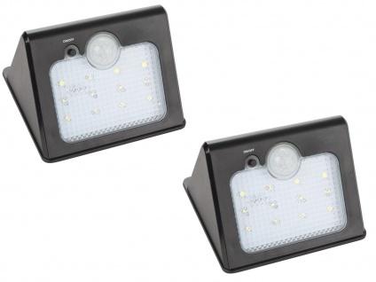2er Set LED Solar Außenwandleuchten mit Bewegungsmelder, Lampen Haus Downlight