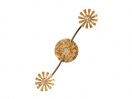 Dreiflammige florentiner Blumen Motiv LED Deckenleuchte aus Metall in Blattgold - Vorschau 5