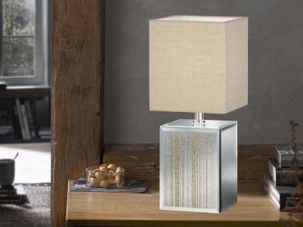 LED Tischlampe klein Designklassiker mit Glasfuß Gold & Stoff Lampenschirm eckig
