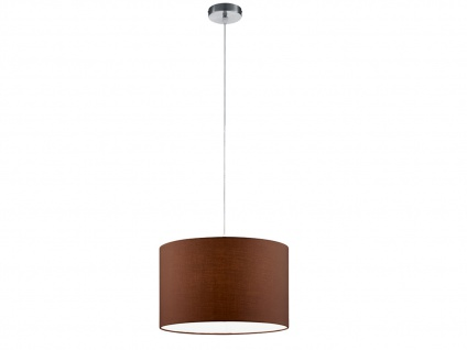 Runde LED Pendelleuchte mit Stoffschirm Braun - Hängeleuchten für den Esstisch