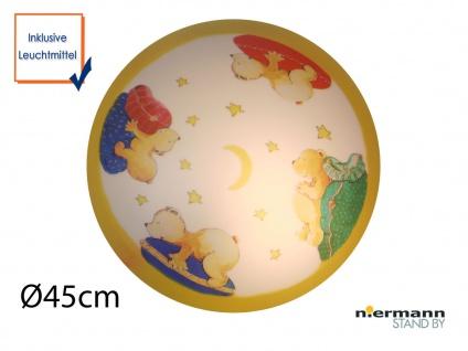 LED Deckenleuchte dimmbar, rund Ø 45cm Bären Motiv Deckenschale Kinderzimmer