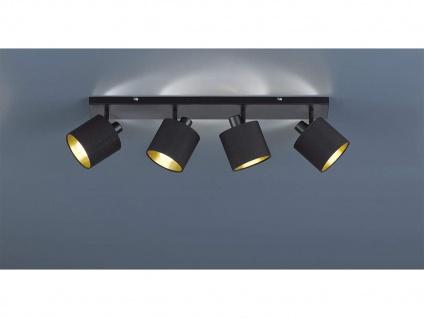 LED Deckenstrahler 4 flammig schwenkbar mit Stoffschirm in schwarz gold Wandspot - Vorschau 1