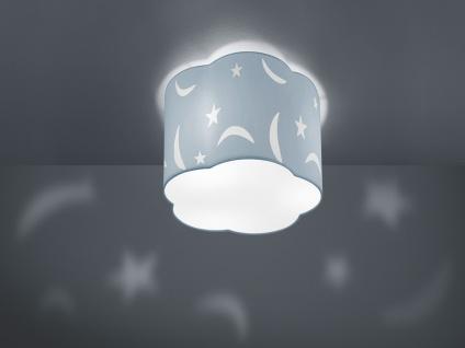 Runde LED Deckenleuchte Ø25cm pastellblauer Stoffschirm mit Motiv Mond+Sternen