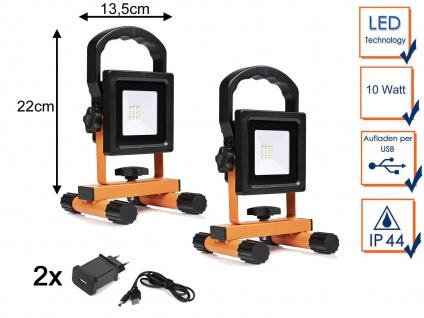 2x 10W LED Baustrahler mit Akku & USB Kabel, Baustellenlampen Baustellenstrahler