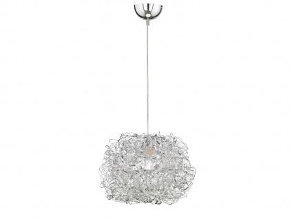 Hängeleuchte Silber Ø 40cm E27, Esstisch Lampe Pendelleuchte Wohnzimmer Flur