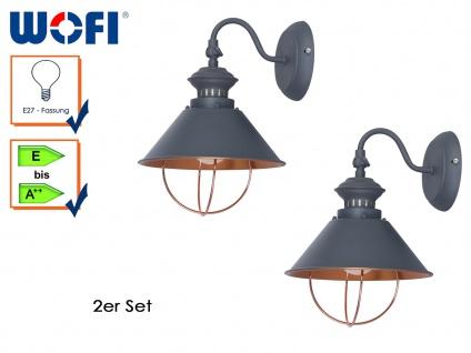 2er Set Retro Wandlampe FLORENCE, grau, Wandleuchte Wandlampen Industrie-Look