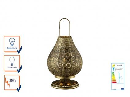 Tischlampe Tischleuchte JASMIN altmessing mit Schalter, E14, 36cm, Ø 19cm - Vorschau 1