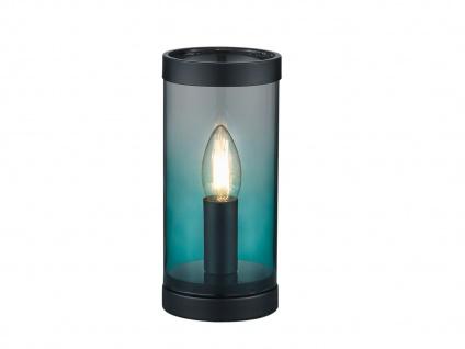 Kleine ausgefallene Glas Tischleuchte Zylinder Tischlampe Nachttischlampe Türkis - Vorschau 2