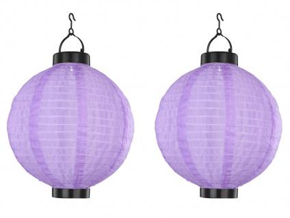 2er Set LED Solarleuchten Lampion violett 25, 5cm, Beleuchtung Garten Terrasse - Vorschau 2