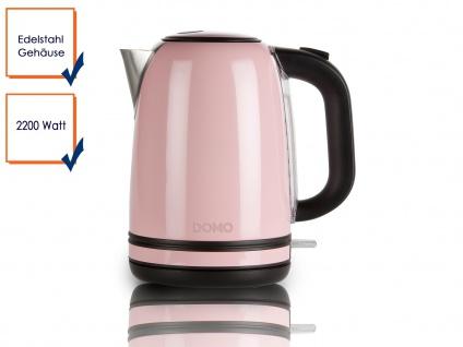 Retro Wasserkocher pastell Rosa 2200W 1, 7 l Kontrollleuchte Edelstahl Teekocher