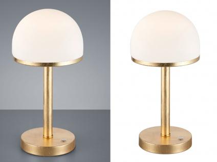 2 Gold folierte Dekoleuchten & Glasschirm weiß LED Tischleuchte TOUCH dimmbar