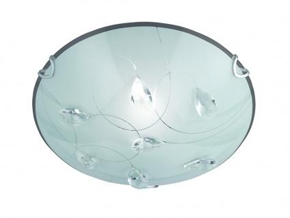 Schöne LED Deckenschale Ø50cm aus Glas, Schirm in Opal weiß mit Dekor Kristallen
