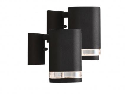 2er-Set Aluminium Wandleuchte MODENA schwarz, GU10, Höhe 13, 5cm IP44