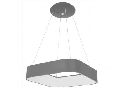 Eckige LED Pendelleuchte Metallschirm grau - Hängeleuchten für über den Esstisch