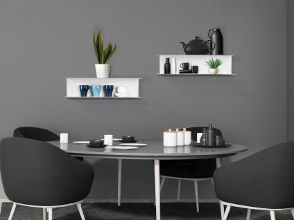 Freischwebende Wandregale mit 2 Regalbretter Metall Hochglanz Weiß Wandboard Set
