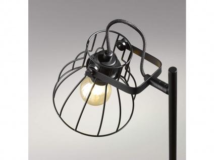 Schwenkbare Vintage Tischlampe, Gitterlampe Lampenschirm schwarz, Fuß Holz natur - Vorschau 4