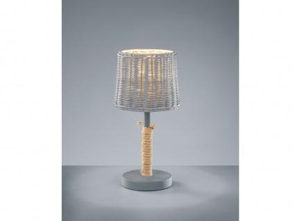 Große LED Tischlampe mit Rattanschirm und Korbgeflecht im Vinatge Landhausstil
