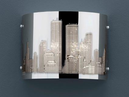 Trio Wandleuchte, Edelstahl/Laser-Cut Motiv Metropole, E14, 22x17cm