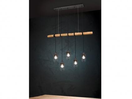 Vintage LED Pendelleuchte 5 flammig mit Holzbalken 100cm - ideal für hohe Räume
